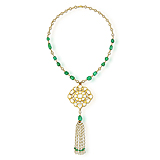 A `POLKI` DIAMOND, EMERALD AND PEARL NECKLACE -    - Spring Auction of Fine Jewels