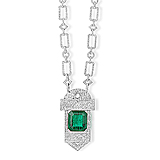 A MAGNIFICENT EMERALD AND DIAMOND NECKLACE OF ART-DECO BASED DESIGN -    - Spring Auction of Fine Jewels
