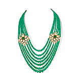 A MAGNIFICENT SEVEN STRAND EMERALD AND DIAMOND NECKLACE -    - Spring Auction of Fine Jewels