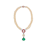 AN IMPORTANT PEARL, RUBY AND EMERALD NECKLACE -    - Spring Auction of Fine Jewels