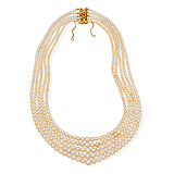 A MAGNIFICENT FIVE-STRAND NATURAL PEARL NECKLACE -    - Spring Auction of Fine Jewels