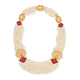 A PEARL AND RUBY `DANCING PEACOCK` NECKLACE -    - Spring Auction of Fine Jewels