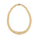 A THREE-STRAND NATURAL PEARL NECKLACE -    - Spring Auction of Fine Jewels