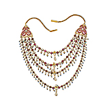 A FOUR-STRAND GOLD AND MULTI-GEM NECKLACE -    - Spring Auction of Fine Jewels