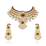 A SUITE OF `POLKI` DIAMOND, RUBY AND PEARL JEWELRY -    - Spring Auction of Fine Jewels