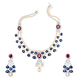 A SUITE OF SAPPHIRE, RUBY AND PEARL JEWELRY -    - Spring Auction of Fine Jewels