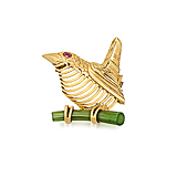 A GOLD, NEPHRITE AND RUBY `BIRD` BROOCH, BY CARTIER -    - Spring Auction of Fine Jewels