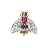 A RUBY, DIAMOND AND COLOURED DIAMOND `BEE` PIN -    - Spring Auction of Fine Jewels