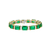 AN IMPORTANT EMERALD AND DIAMOND BRACELET -    - Auction of Fine Jewels & Watches