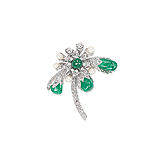 AN EMERALD, PEARL AND DIAMOND BROOCH -    - Auction of Fine Jewels & Watches