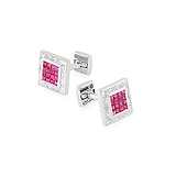 A PAIR OF RUBY AND DIAMOND CUFFLINKS -    - Auction of Fine Jewels & Watches