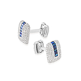 A PAIR OF SAPPHIRE AND DIAMOND CUFFLINKS -    - Auction of Fine Jewels & Watches