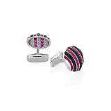 A PAIR OF RUBY AND ONYX CUFFLINKS -    - Auction of Fine Jewels & Watches