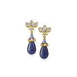 A PAIR OF SAPPHIRE AND DIAMOND EAR PENDANTS -    - Auction of Fine Jewels & Watches