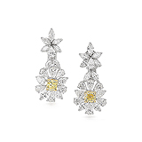 A PAIR OF COLOURED DIAMOND AND DIAMOND EAR PENDANTS -    - Auction of Fine Jewels & Watches