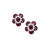A STUNNING PAIR OF RUBY AND DIAMOND EAR CLIPS -    - Auction of Fine Jewels & Watches