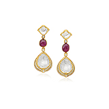 A PAIR OF `POLKI` DIAMOND AND RUBY EAR PENDANTS -    - Auction of Fine Jewels & Watches