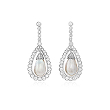 AN IMPORTANT PAIR OF NATURAL PEARL AND DIAMOND EAR PENDANTS -    - Auction of Fine Jewels & Watches
