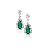 A MAGNIFICENT PAIR OF EMERALD AND DIAMOND EAR PENDANTS -    - Auction of Fine Jewels & Watches