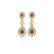 A PAIR OF RUBY AND `POLKI` DIAMOND EAR PENDANTS - Auction of Fine Jewels & Watches