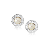 A PAIR OF NATURAL PEARL AND DIAMOND EAR CLIPS -    - Auction of Fine Jewels & Watches