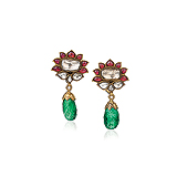 A PAIR OF DIAMOND, RUBY AND EMERALD EAR PENDANTS -    - Auction of Fine Jewels & Watches