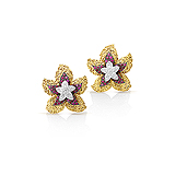 A PAIR OF RUBY AND DIAMOND `FLOWER` EAR CLIPS -    - Auction of Fine Jewels & Watches