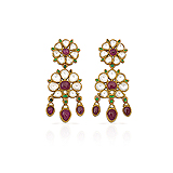 A PAIR OF RUBY AND `POLKI` DIAMOND EAR PENDANTS -    - Auction of Fine Jewels & Watches