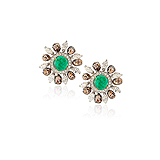 A PAIR OF EMERALD, DIAMOND AND COLOURED DIAMOND EAR CLIPS -    - Auction of Fine Jewels & Watches