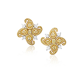 A PAIR OF COLOURED DIAMOND AND DIAMOND EAR CLIPS -    - Auction of Fine Jewels & Watches