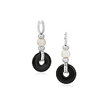 A PAIR OF ONYX, PEARL AND DIAMOND EAR PENDANTS -    - Auction of Fine Jewels & Watches