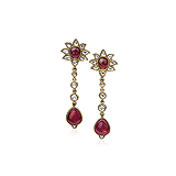A PAIR OF RUBY AND DIAMOND EAR PENDANTS -    - Auction of Fine Jewels & Watches