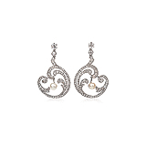A PAIR OF PEARL AND DIAMOND EAR PENDANTS -    - Auction of Fine Jewels & Watches