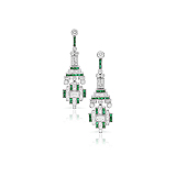 A PAIR OF ART-DECO INSPIRED EMERALD AND DIAMOND EAR PENDANTS -    - Auction of Fine Jewels & Watches