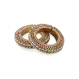 A PAIR OF GOLD AND MULTI-GEM PERIOD BANGLES -    - Auction of Fine Jewels & Watches