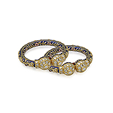 A PAIR OF DIAMOND AND ENAMEL `KADA` BANGLES -    - Auction of Fine Jewels & Watches