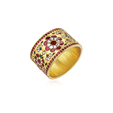 A CONTEMPORARY GOLD AND GEMSET CUFF -    - Auction of Fine Jewels & Watches