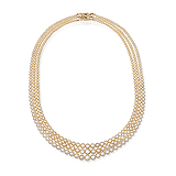 AN EXQUISITE THREE-STRAND NATURAL PEARL NECKLACE -    - Auction of Fine Jewels & Watches