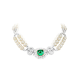 AN EMERALD, PEARL AND DIAMOND NECKLACE -    - Auction of Fine Jewels & Watches