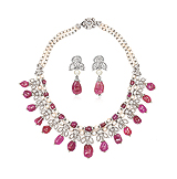 A RUBY, DIAMOND AND PEARL SUITE -    - Auction of Fine Jewels & Watches