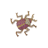 A RUBY AND DIAMOND `BEETLE` BROOCH -    - Auction of Fine Jewels & Watches