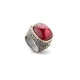 A SPINEL AND COLOURED DIAMOND RING -    - Auction of Fine Jewels & Watches