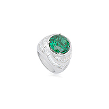 AN IMPRESSIVE EMERALD AND DIAMOND RING -    - Auction of Fine Jewels & Watches