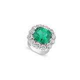 A MAJESTIC EMERALD AND DIAMOND RING -    - Auction of Fine Jewels & Watches
