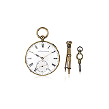FREDC ABE PERRET: 18 K GOLD OPEN FACE POCKET WATCH -    - Auction of Fine Jewels & Watches