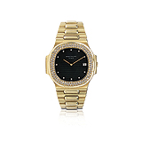 PATEK PHILIPPE: MENS 18 K GOLD AND DIAMOND `NAUTILUS` WRISTWATCH, REF. 3700 -    - Auction of Fine Jewels & Watches