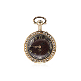 SWISS: LADIES 18 K GOLD, ENAMEL AND PEARL PENDANT WATCH -    - Auction of Fine Jewels & Watches