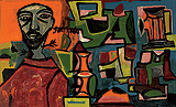 Portrait of a Man with Still Life - F N Souza - Spring Auction 2010