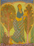 Woman and the Monkey - A  Ramachandran - Autumn Auction 2011