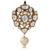 A 'POLKI' DIAMOND AND PEARL PENDANT -    - Auction of Fine Jewels & Watches